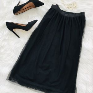 H&M Black Tulle Full Midi Skirt